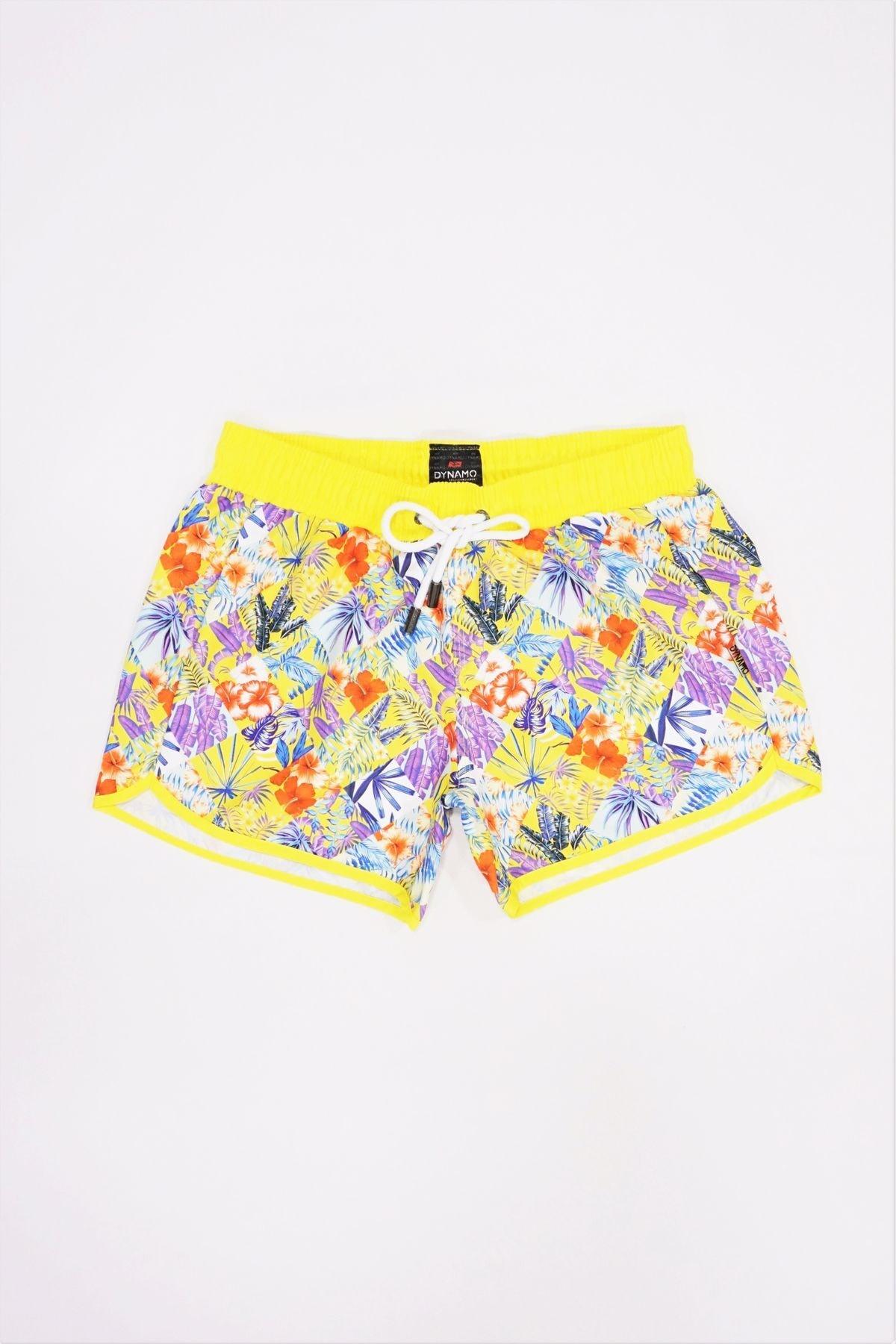 DYNAMO Kadın Sarı Çiçek Desenli Deniz Şortu R3 12021 1