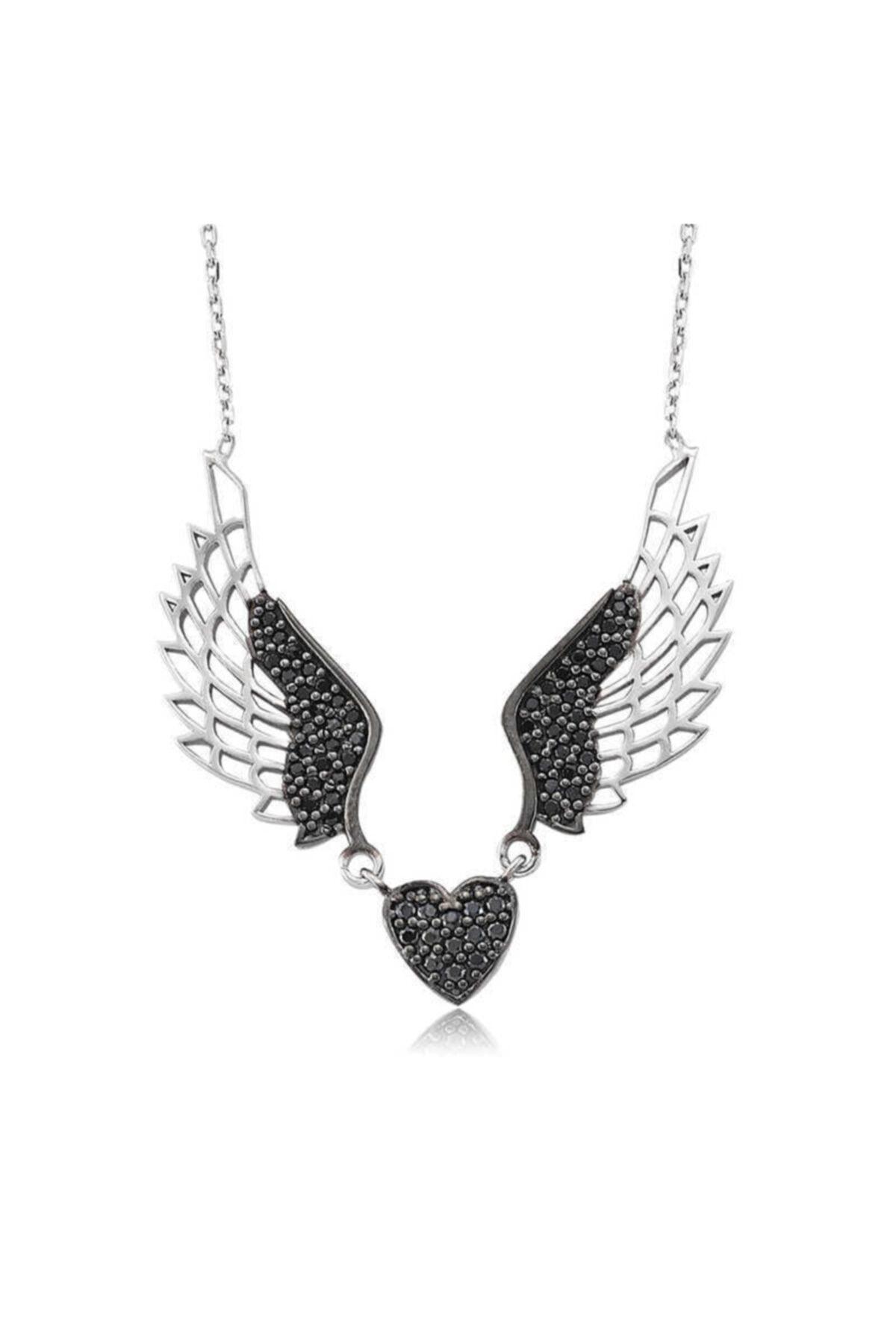 Gumush Kadın Siyah Kanatlı Kalp Gümüş Kolye 1