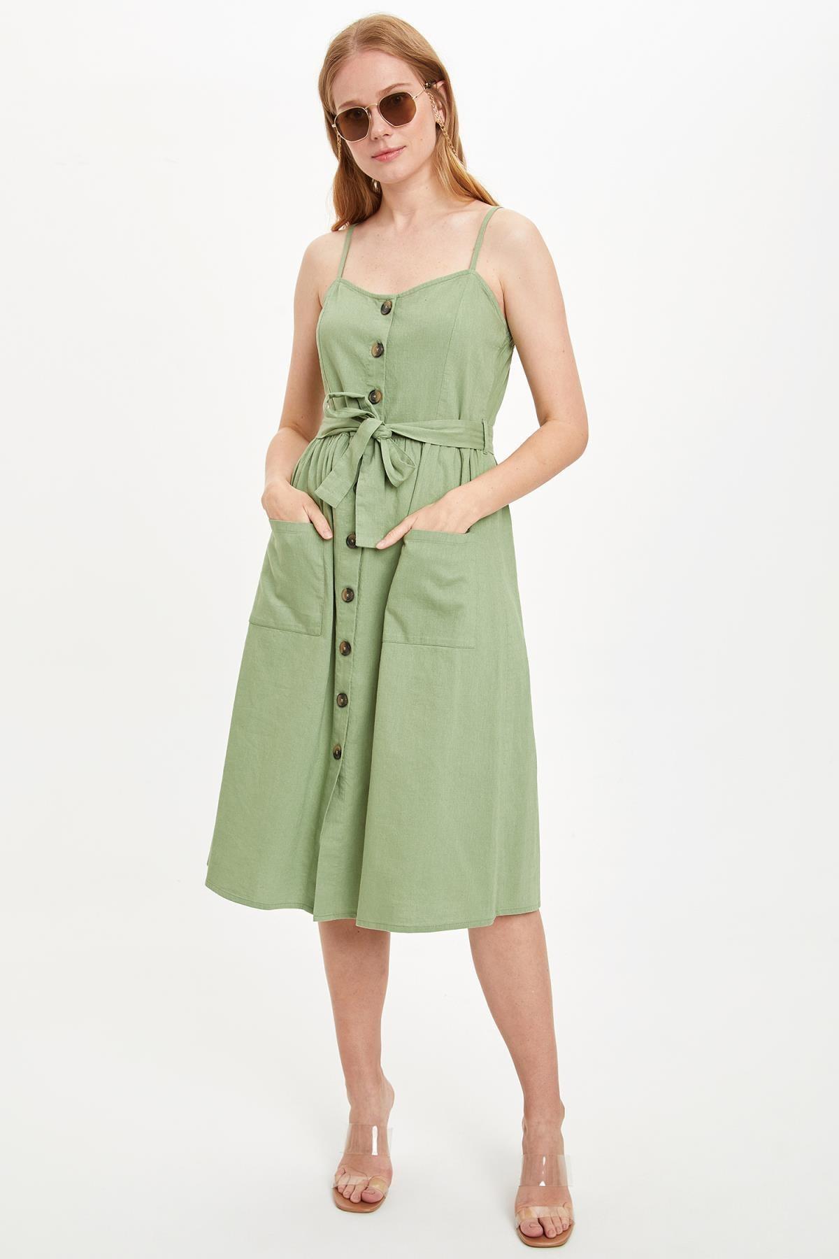 DeFacto Kadın Haki Düğme Cep Detaylı Kemerli Dokuma Elbise M8931AZ20SM