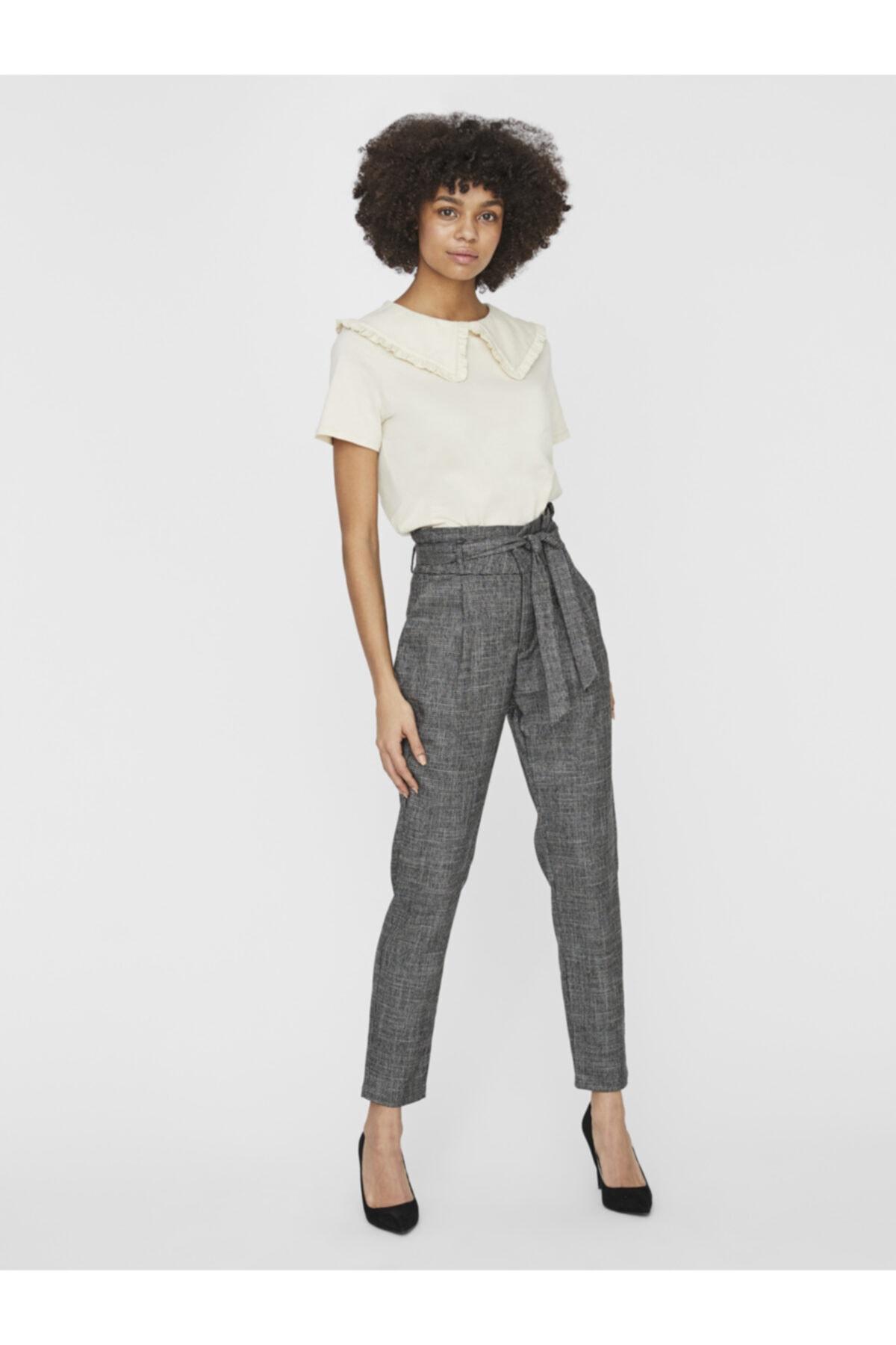 Vero Moda Kadın Siyah Paperbag Yüksek Bel Pantolon 10233811 VMEVA 1