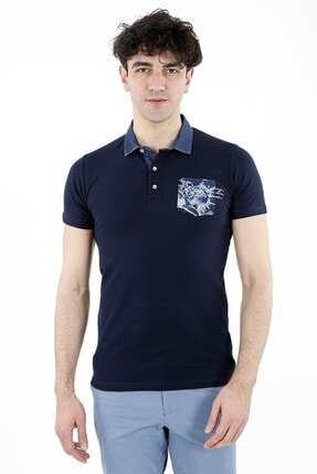 Jakamen Lacivert Slim Fit T-shirt Polo Yaka