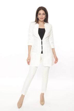 MANGOSTEEN Kadın Takım Elbise, Kopçalı Yakalı Uzun Ceket Ve Fit Pantolon, Ofis Ve Günlük