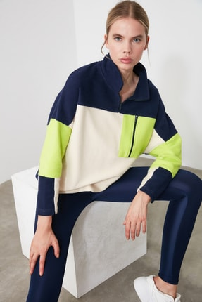 TRENDYOLMİLLA Renk Bloklu Cep Detaylı Spor Sweatshirt TWOAW21SW0170
