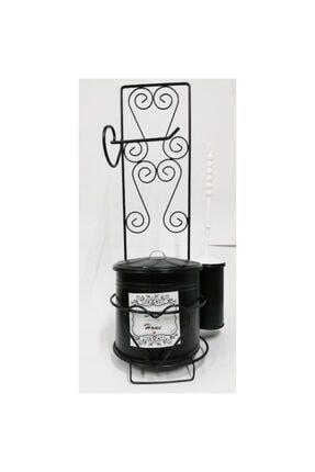 bermeks Ferforje Wc Çöp Kova Tuvalet Kağıt Standı Fırçalı Siyah