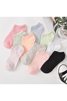 çorapmanya 8 Çift Koton Ekonomik Karışık Renk Kadın Patik Çorap