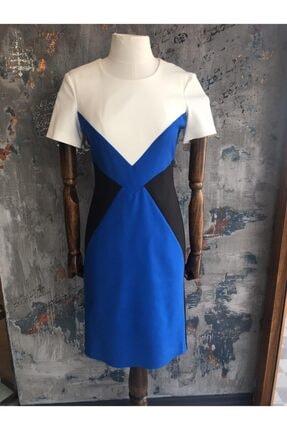 Perspective Kadın Mavi Geometrik Desen Kısa Abiye Elbise