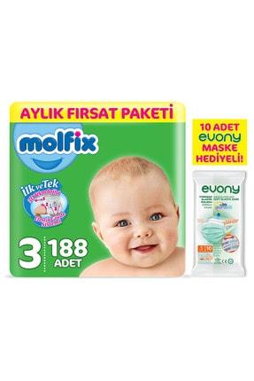 Molfix Bebek Bezi 3 Beden Midi Aylık Fırsat Paketi 188 Adet + Evony Maske 10'lu Hediyeli