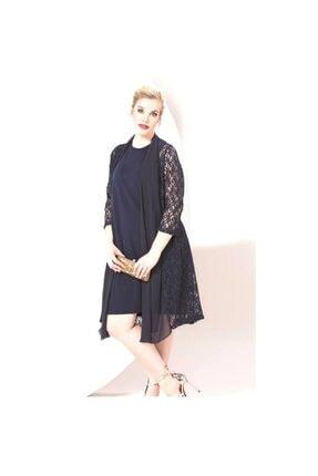 RMG Kadın Lacivert Dantelli Büyük Beden Abiye Elbise