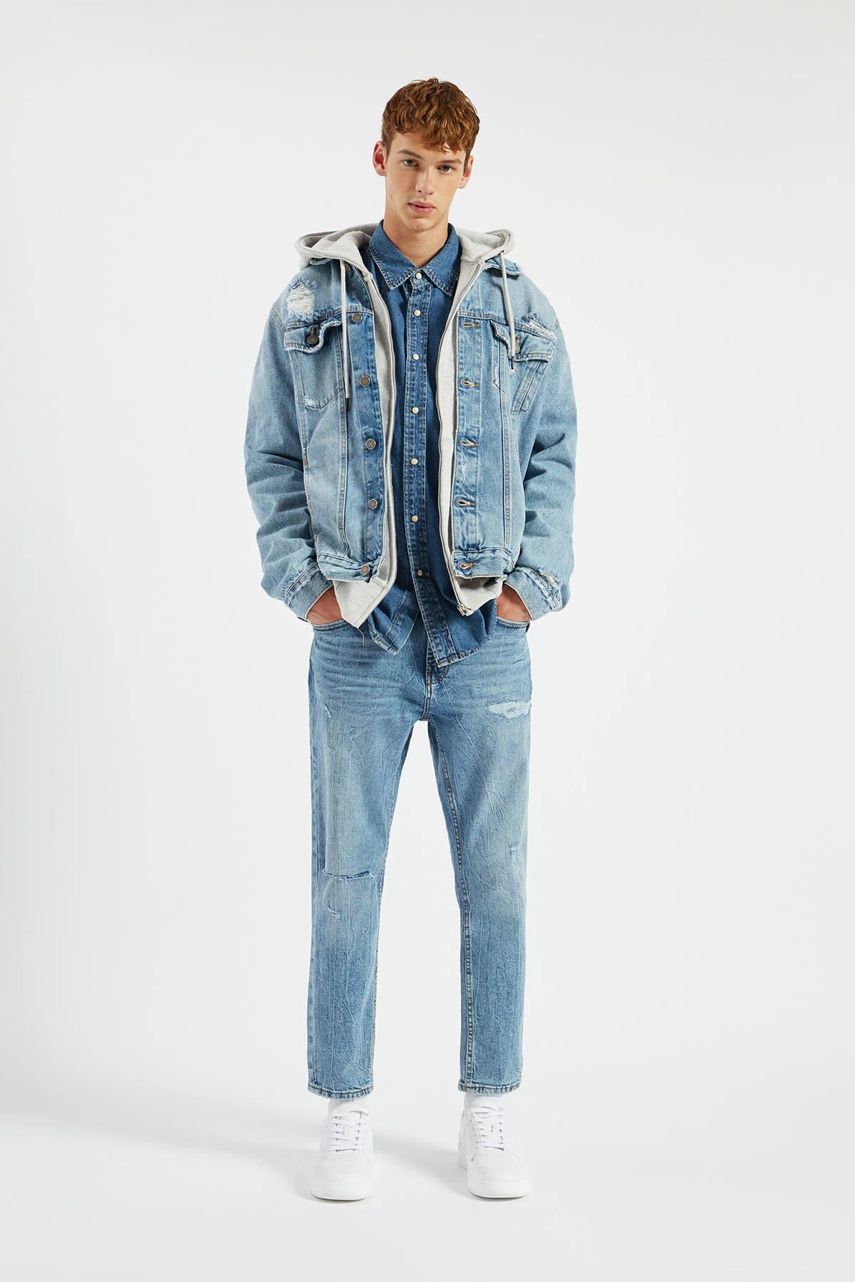 Pull & Bear Erkek Açık İndigo Distressed Daralan Slim Fit Jean 09683501