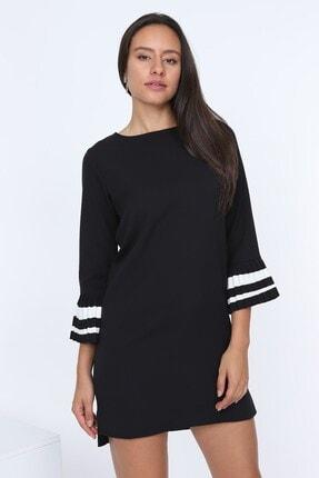 TEORA FASHION Kadın Siyah Piyano Kol Atlas Elbise E0177
