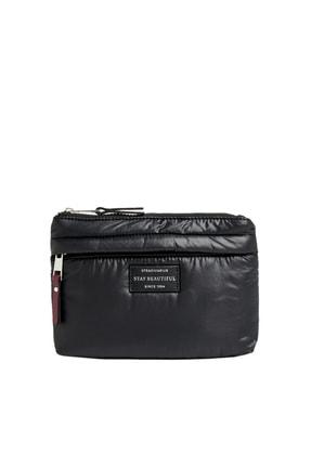 Stradivarius Kadın Siyah Kumaş Makyaj Çantası 03914011