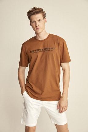 GRIMELANGE Erkek Kahverengi Basic Ön Beden Baskılı Bol Kesim T-Shirt