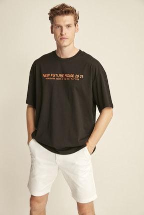 GRIMELANGE WESLEY Siyah Erkek Basic On Beden Baskili Bol Kesim T-shirt