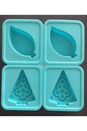 HOBİ Yaprak Silikon Kalıp Çikolata Muffin Sabun Kokulu Taş Mum Epoksi Kalıbı 4 Delikli