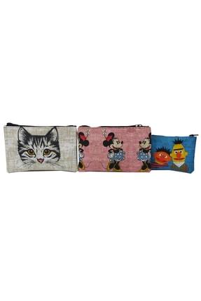 MODAZEY Kedi&minnie Mouse Desenli Düzenleyici & Makyaj Çantası Seti