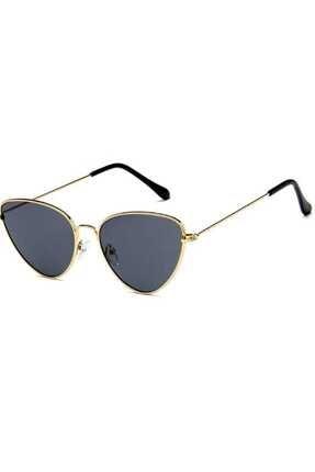 Hane14 Kadın Siyah Gold Metal Çerçeveli Cat Eye Güneş Gözlügü