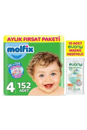 Molfix Bebek Bezi 4 Beden Maxi Aylık Fırsat Paketi 152 Adet + Evony Maske 10'lu Hediyeli
