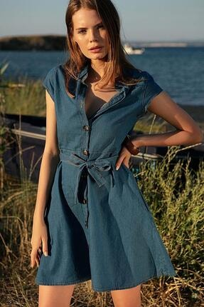 Pattaya Kadın Mavi Kuşaklı Kısa Kollu Kot Elbise PTTY20S-9677