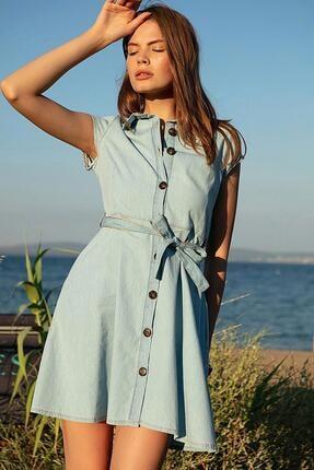 Pattaya Kadın Açık Mavi Kuşaklı Kısa Kollu Kot Elbise PTTY20S-9677