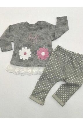 BabyHope Kız Bebek Gri Happy Çicekli Ikili Takım