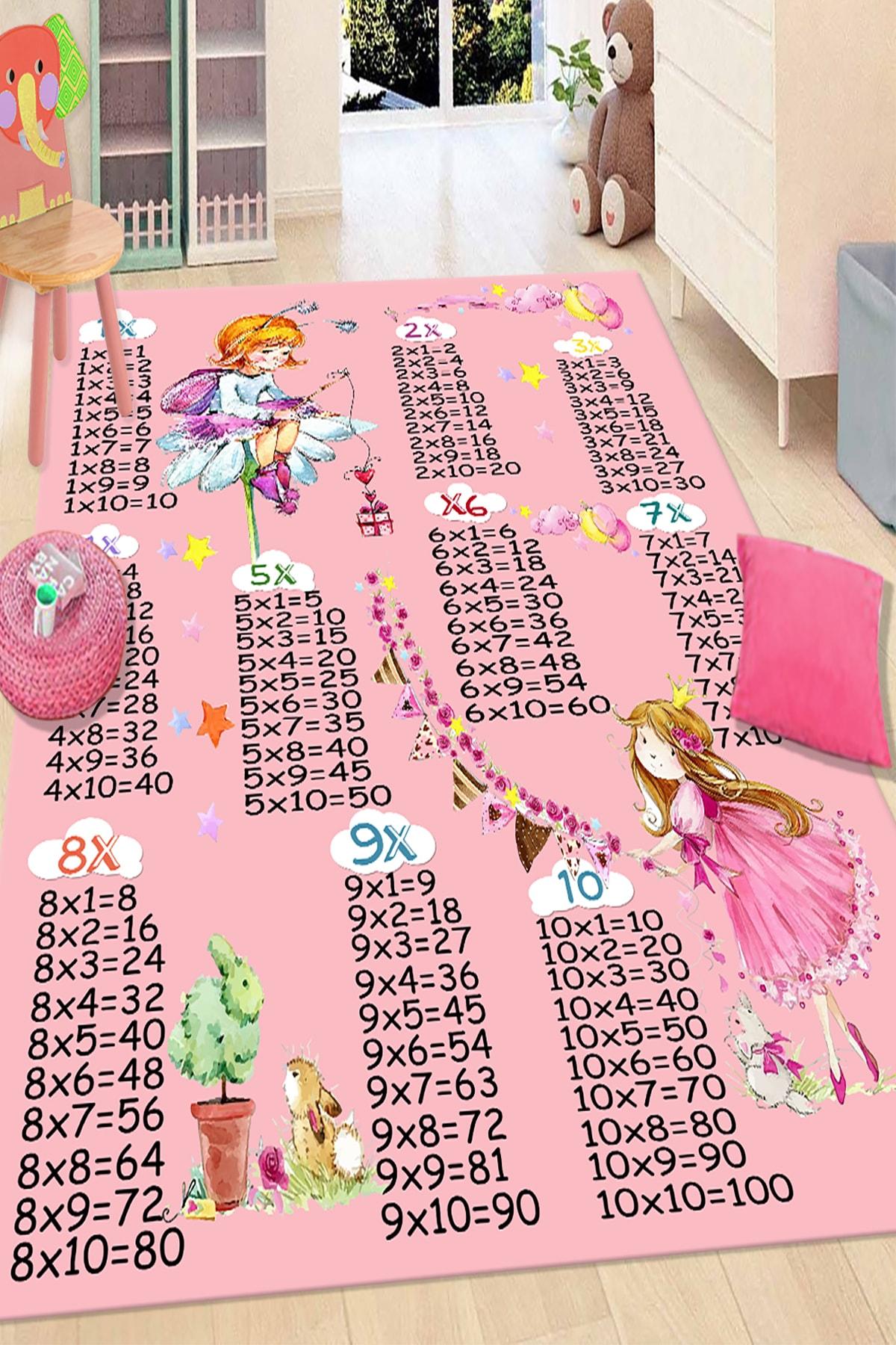 RISSE Pembe Çarpım Tablosu Desenli Renkli Çocuk Halısı 1