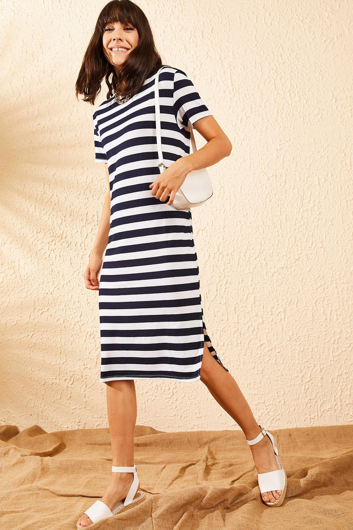 Bianco Lucci Kadın Lacivert Basic Uzun Çizgili Penye Elbise 10091064