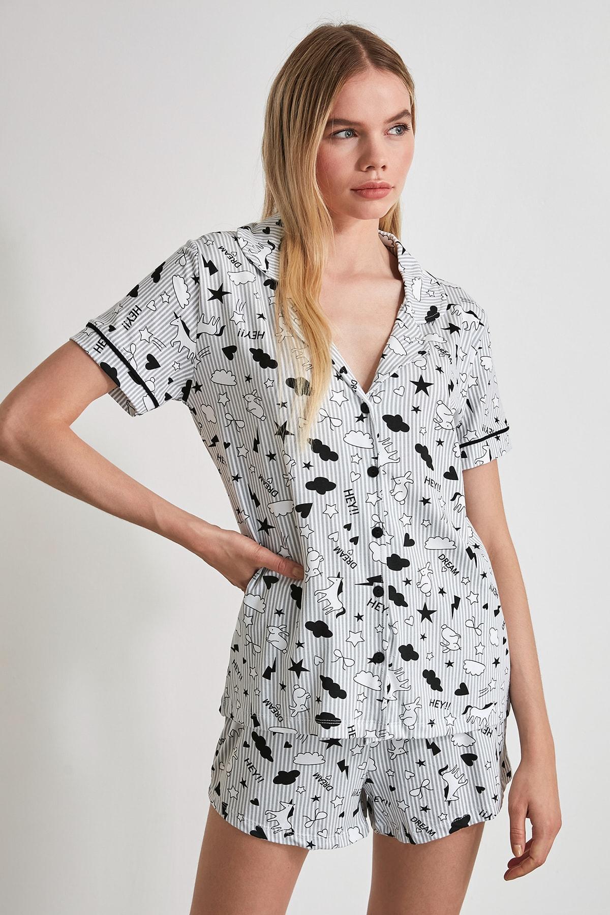 TRENDYOLMİLLA Gri Biye Detaylı Örme Pijama Takımı THMSS20PT0300 2
