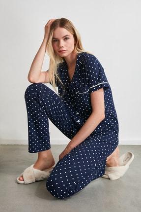 TRENDYOLMİLLA Lacivert Puantiyeli Örme Pijama Takımı THMSS20PT0304