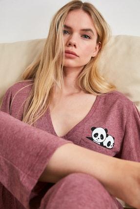 TRENDYOLMİLLA Bordo Panda Baskılı Örme Pijama Takımı THMSS20PT0172