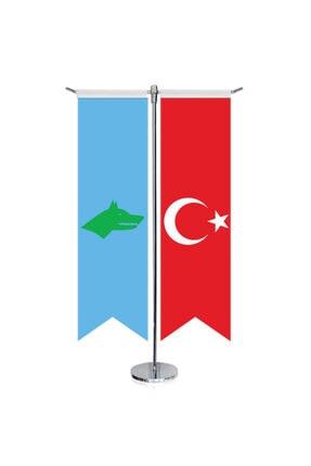 Asilmeydan Göktürk Imp. Bayrağı -17 Eski Türk Devletleri Ve Türkiye -kırlangıç -saten T Direk 2li Masa Bayrağı