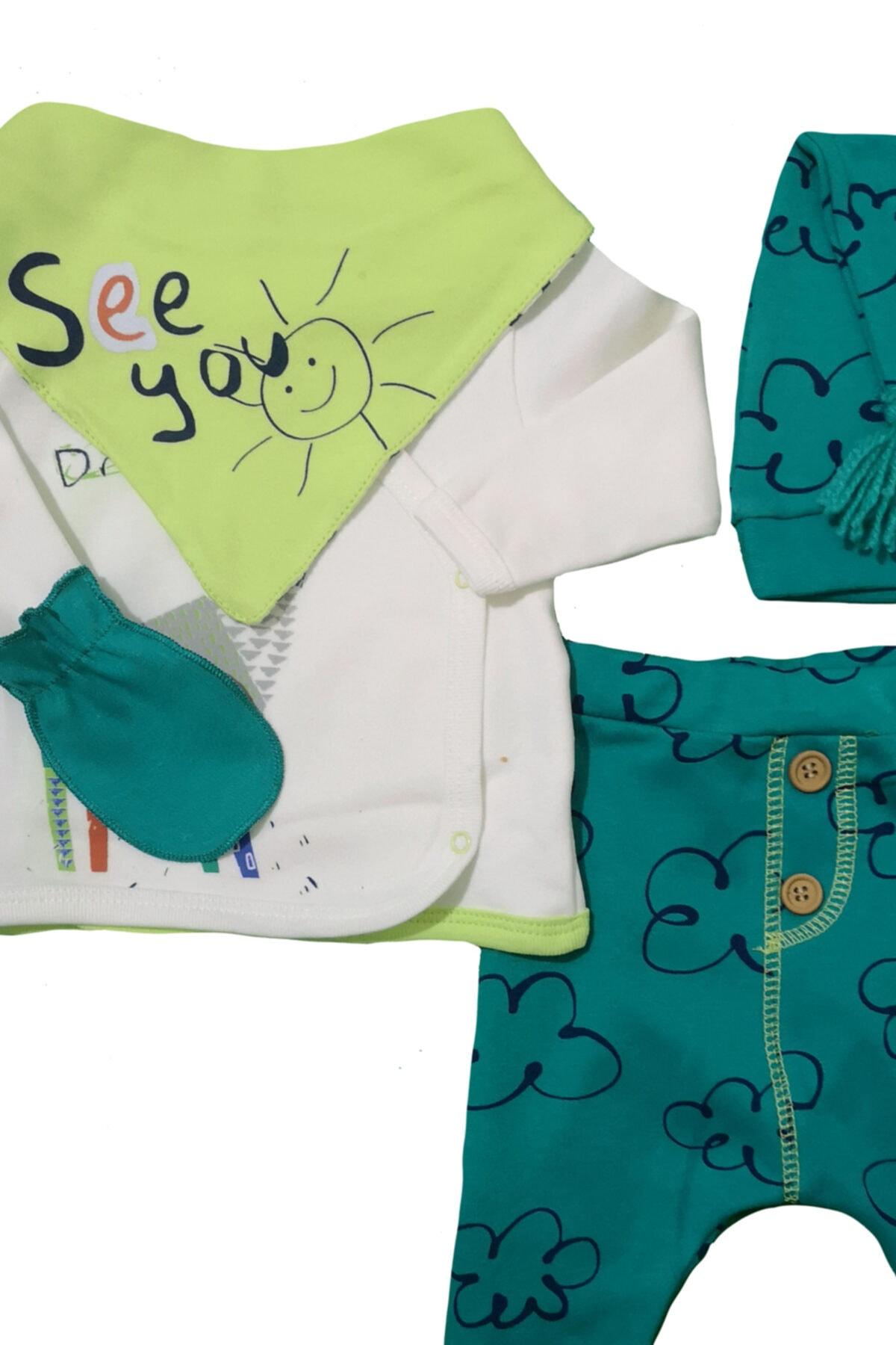 İmaj Erkek Bebek Yeşil See You Baskılı Hastane Çıkışı 5'li Set 2