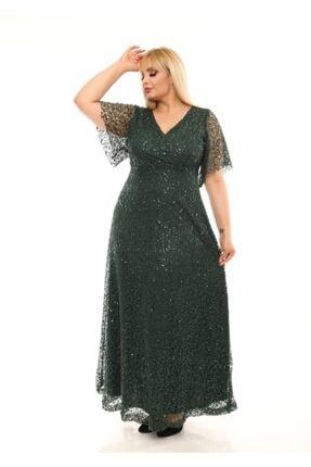 ZEYN TEKSTİL Kadın Yeşil Degaje Payetli Abiye Elbise