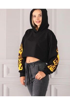 TREND Kadın Siyah Spor Sweatshirt Ates Baskılı