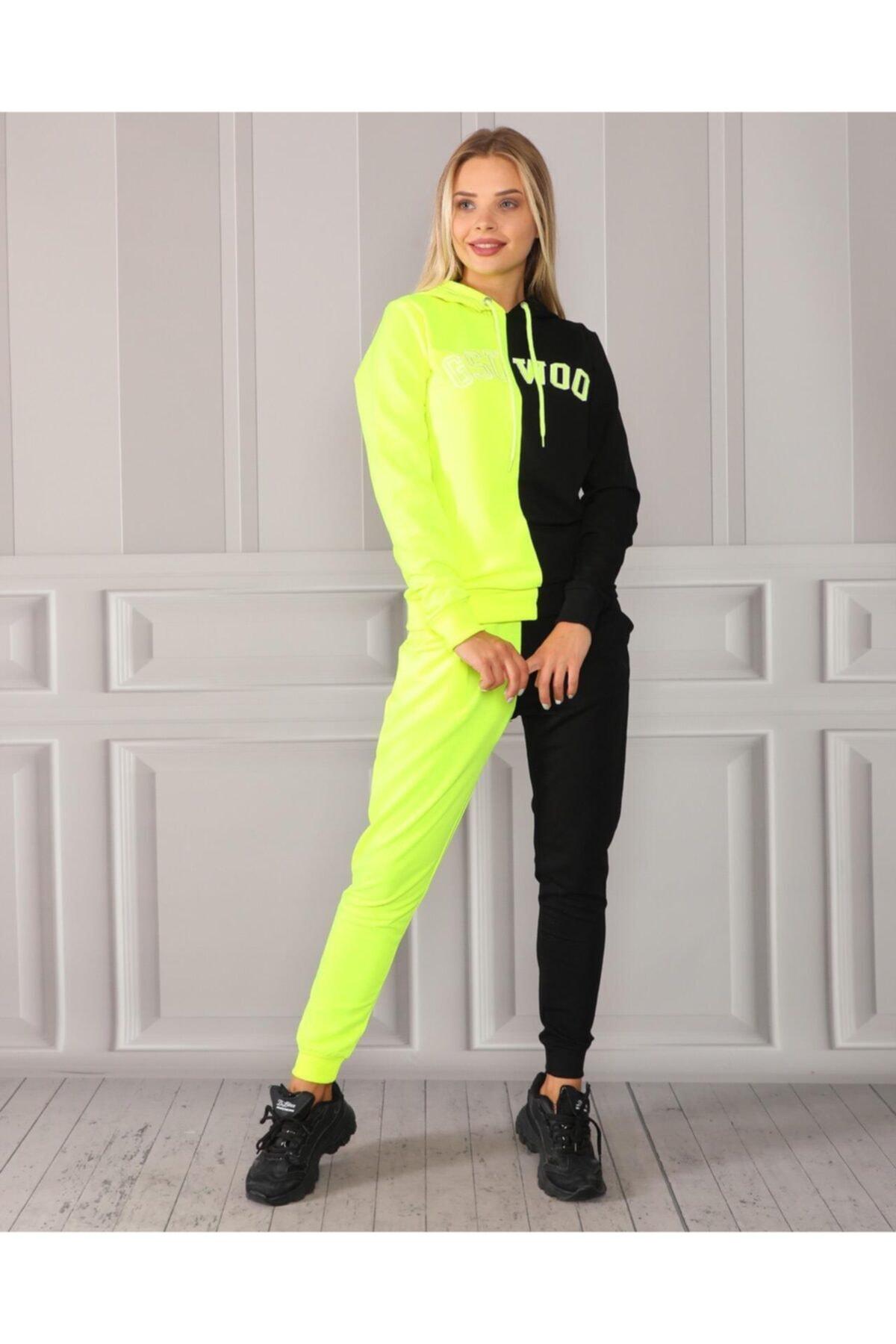 TREND Kadın Siyah Renk Bloklu Eşofman Takımı Ustu Sweatshirt Alt Ust Takım 1