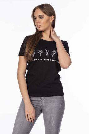 BARRELS AND OIL Kadın Siyah Basic Çiçek Desenli T-shirt 870-20Y13018.91