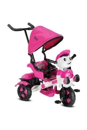 BabyHope Kız Çocuk Pembe 125 Yupi Panda Ebeveyn Kontrollü Tenteli Müzikli Tricycle Üç Teker Bisiklet