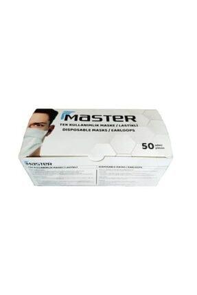 Master Tek Kullanımlık 3 Katlı Telli Lastikli Beyaz Maske 50 Adet