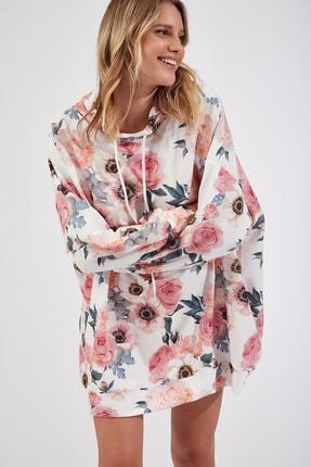 Happiness İst. Kadın Şeftali Desenli Oversize Sweat Elbise  DD00511