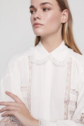 Machka Kadın Beyaz Şerit Dantelli Şifon Gömlek MS1200006030096