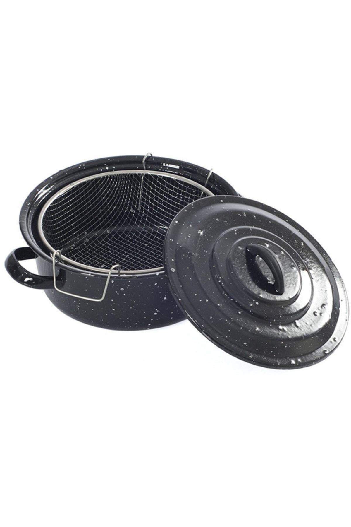 Essen Siyah Kapaklı Emaye Cips Fritöz Kızartma Tenceresi 25 cm 1