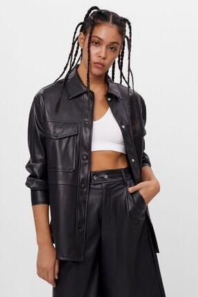 Bershka Kadın Siyah Suni Deri İnce Ceket