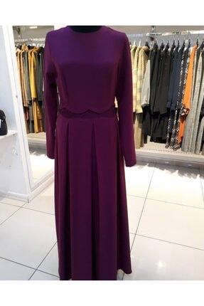 Loreen Beli Dantel Detaylı Eteği Pileli Elbise