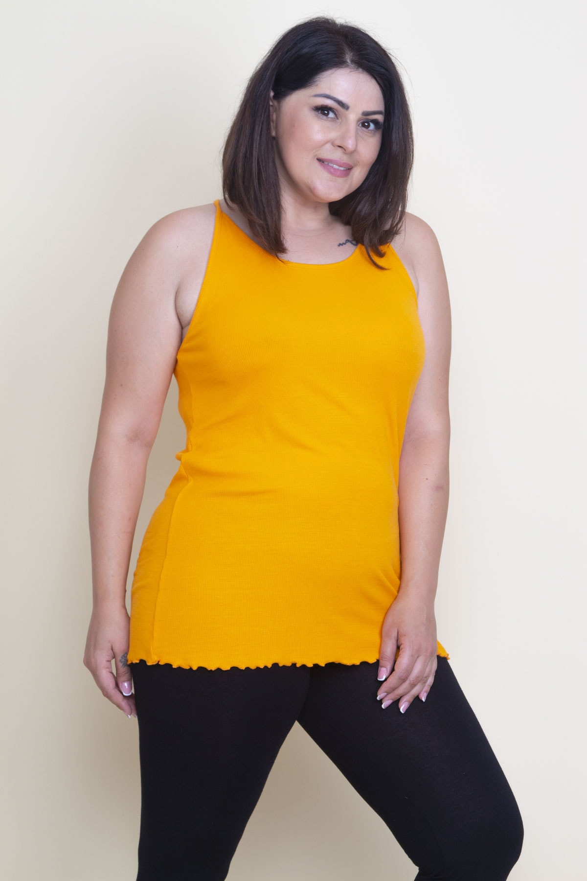 Şans Kadın Oranj Askılı T-Shirt 1