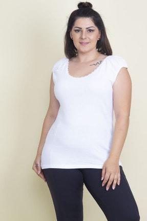 Şans Kadın Beyaz Dantel Ve Kol Detaylı Bluz