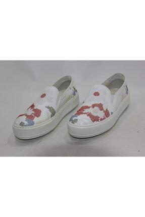 İnci Kadın Beyaz Desenli Hakiki Deri Spor Ayakkabı