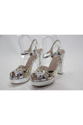 İnci Kadın Gümüş Hakiki Deri Topuklu Ayakkabı