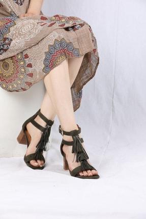 VİVA Kadın Haki Yeşil Hakiki Süet Çift Bant Önü Püsküllü Ayakkabı