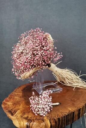 Kuru Çiçek Deposu Gelin Buketi Pembe Cipsolu 2'li Set