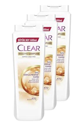 Clear Saç Dökülmesine Karşı Etkili Şampuan 600 Ml. Üçlü Set
