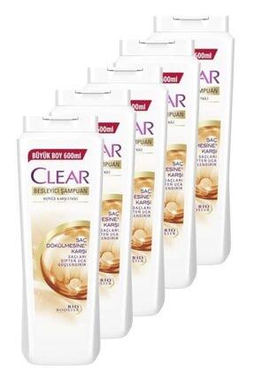 Clear Saç Dökülmesine Karşı Etkili Şampuan 600 Ml. Beşli Set